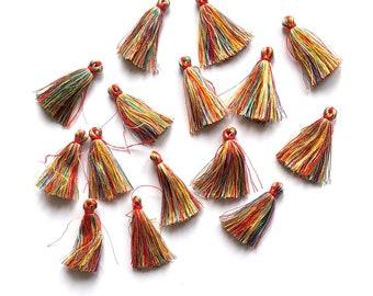 Mini rainbow gold/red tassels, mixed colour 35mm
