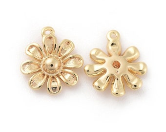 Gold flower charms x 2, 18k gold plated