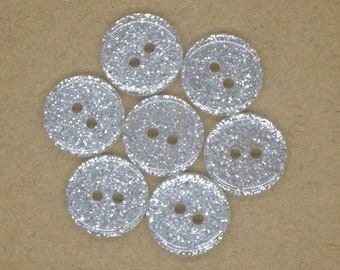 Silver glitter round buttons, 13mm resin