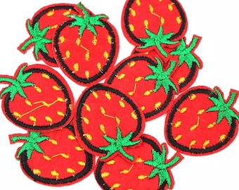 Strawberry embroidered patches x 2