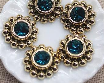 Round peacock blue rhinestone cabochons
