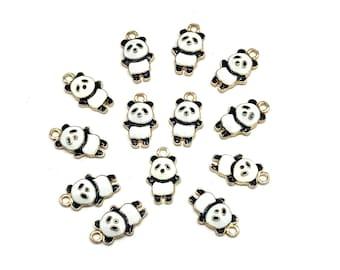 Panda enamel charms x 2