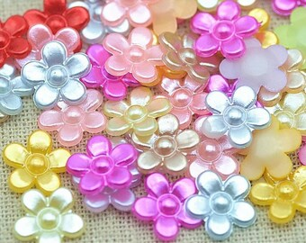 Pearl effect mixed colour flower embellishments, 11mm