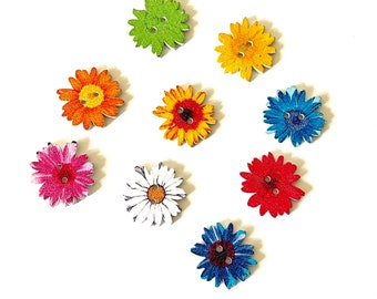 Flower wooden sewing buttons, 25mm single colour flower