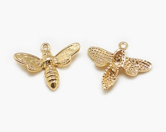 Bee charms x 2, 18k gold plated