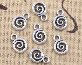 Silver antique style spiral charms x 6