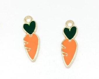 Carrot enamel charms x 2