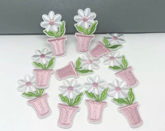 White Flower in pot iron on patches x 2