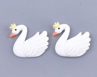 Swan resin embellishments, set of 5