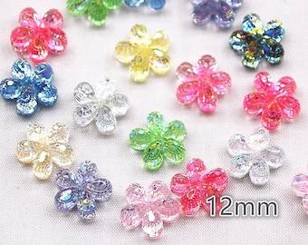 Glitter resin flower cabochons