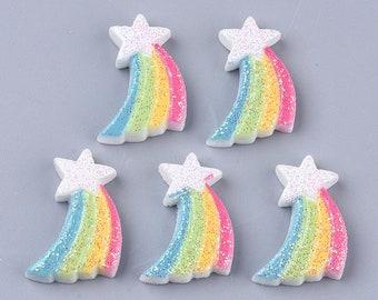 Rainbow star glitter resin embellishments, 20mm