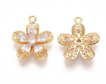 Cubic zirconia flower pendant, 18k gold plated