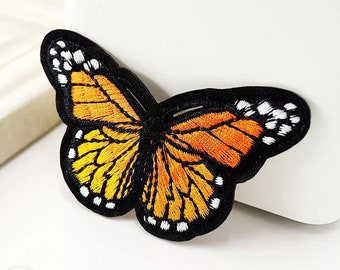 Orange embroidered butterfly patch, 8cm