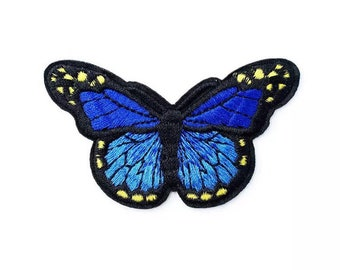 Butterfly embroidered patch, royal blue