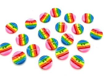 Rainbow round plastic buttons, set of 12