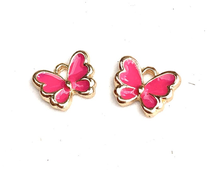 Featured listing image: Butterfly enamel charms, pink