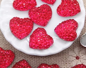 Glitter heart embellishments, hot pink 11mm