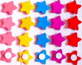 Wooden star embellishments set of 20