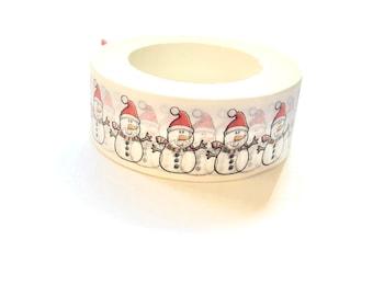 Snowman washi tape roll -white