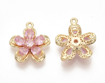 Flower pendant, pink cubic zirconia and 18k gold plated