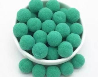 Pom Poms, green mini pom poms