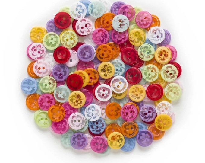 Featured listing image: Flower pattern round plastic buttons, 13mm