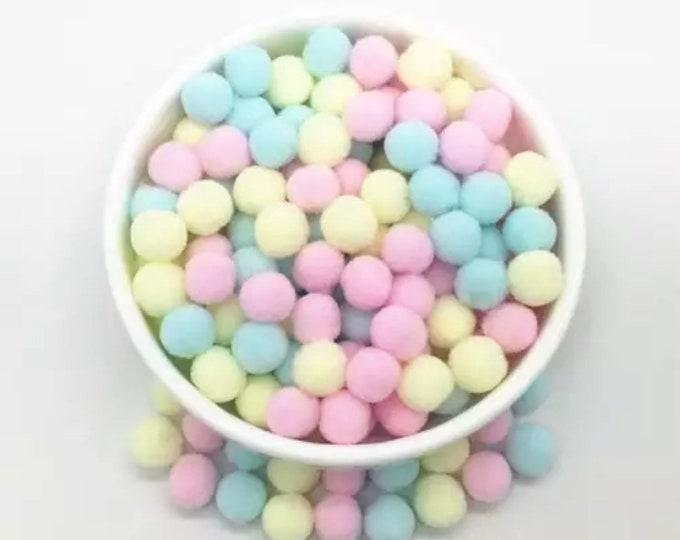 Featured listing image: Pom Poms, Ice cream pastels mini pom poms, 10mm