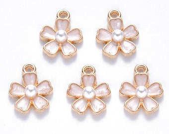 White enamel and pearl flower charms