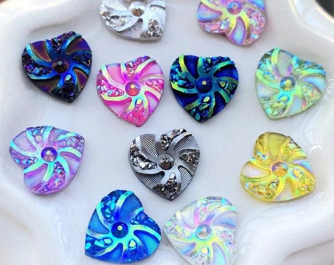 Featured listing image: Heart rhinestone 10mm embellishments