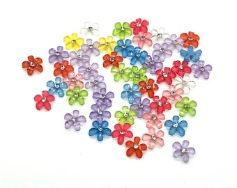 Bright flower cabochons mix colour, 10mm