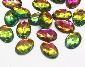 Rainbow oval crystal effect cabochons