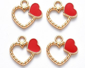 Red double heart charms