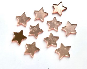 Rose gold mirror finish star cabochons, 25mm