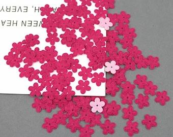 Flower felt applique, 18mm dark pink