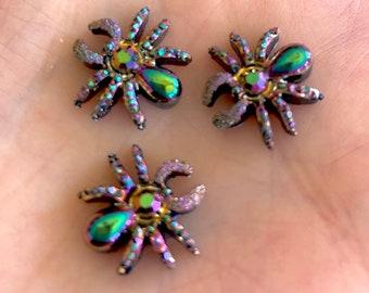 Spider rhinestone cabochons, 13mm