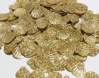 Gold shell glitter sequins, 3g