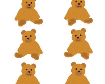 Brown Bear Stickers, 2 Sheets