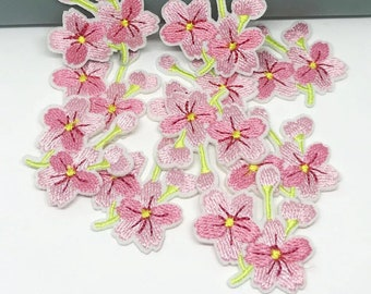 Pink Flower iron on patches x 2
