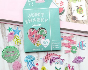 Sea themed sparkle stickers