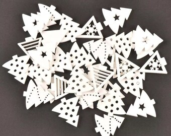 White Christmas tree wooden shapes, 3cm