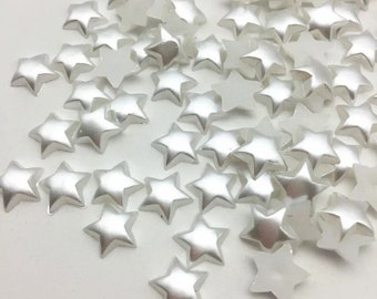 White star pearl effect cabochons, 10mm