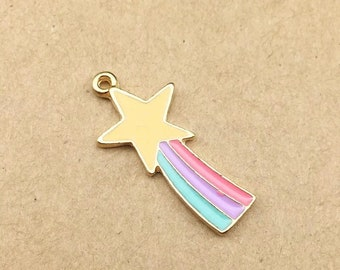 Shooting star enamel and gold tone charm x 2