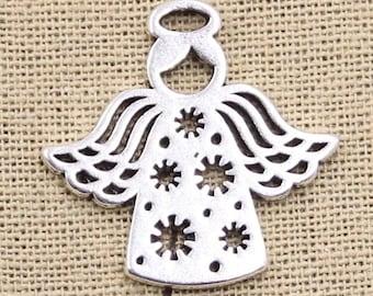Silver angel pendant, snow angel