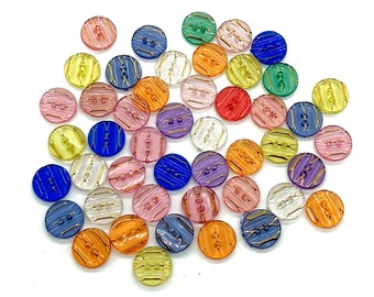 Transparent mixed colour round buttons,set of 12