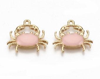 Crab enamel charms