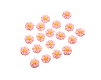 Pink daisy cabochons, 13mm