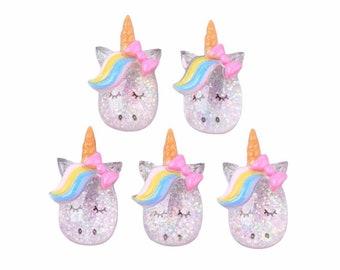 Glitter unicorn resin embellishments. set of 5