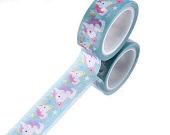 Unicorn blue washi tape