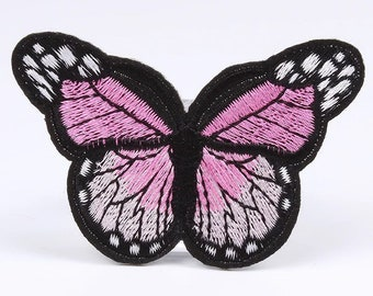 Pink embroidered butterfly patch