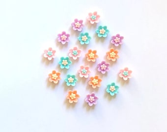 Flower cabochons, Pastel mix, set of 20